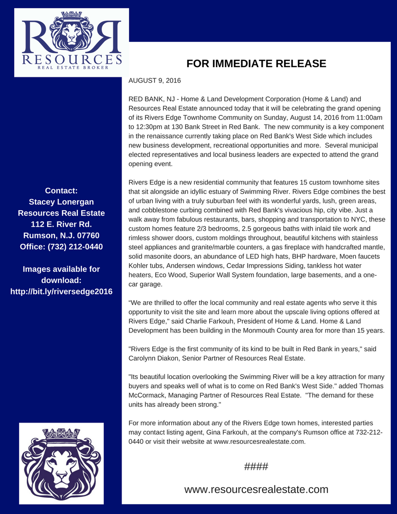 Rivers Edge 2016 Press Release